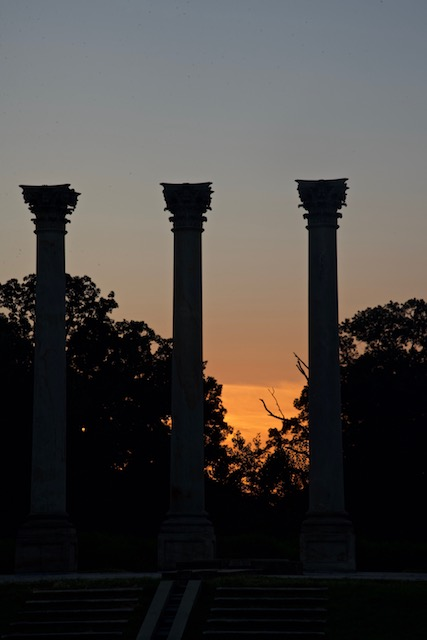Moonset and Sunrise Over National Capitol Columns-Bob Capps