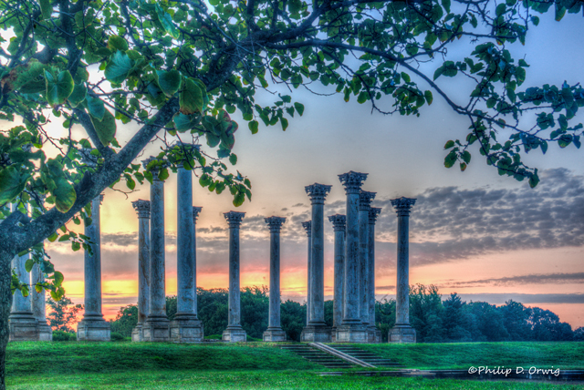 Moonset and Sunrise Over National Capitol Columns-Philip Orwig