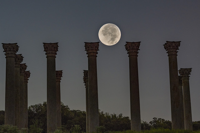 Moonset and Sunrise Over National Capitol Columns-Vinod Thomas