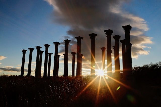 Moonrise over the Capitol Columns at the National Arboretum-Durul Dalkanat