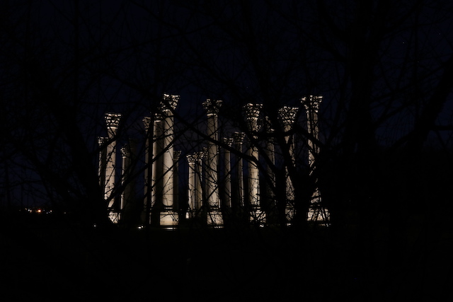 Moonrise over the Capitol Columns at the National Arboretum-Susan Chapin