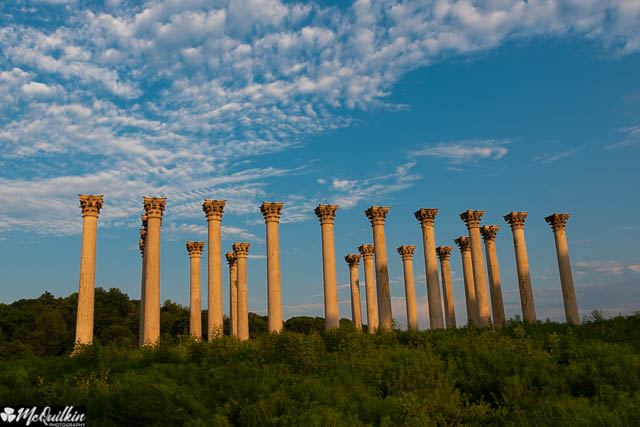 Moonset and Sunrise Over Capitol Columns at National Arboretum-Jeff McQuilkin