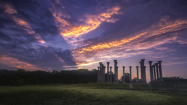 Moonset and Sunrise Over Capitol Columns at National Arboretum-Robert Fawcett