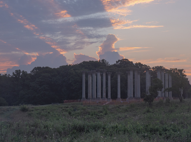 Moonset and Sunrise Over Capitol Columns at National Arboretum-Tana Ebbole