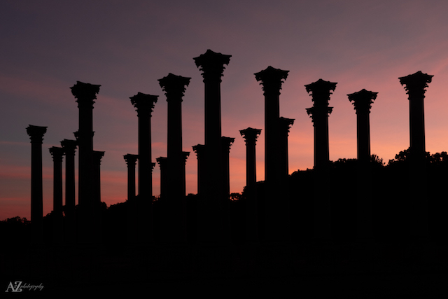 Moonset and Sunrise Over Capitol Columns At National Arboretum-Beth Haubach