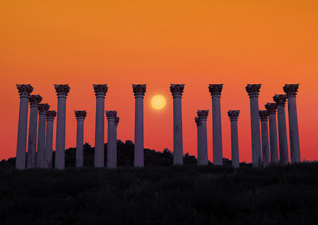 Moonset and Sunrise Over Capitol Columns At National Arboretum-Laura Rogers