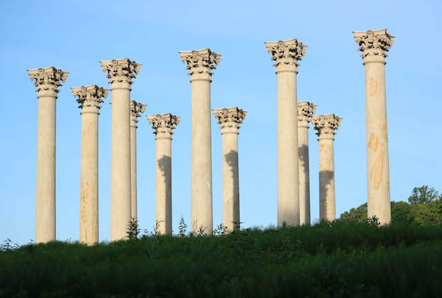 Moonset and Sunrise Over Capitol Columns At National Arboretum-Susan Chapin