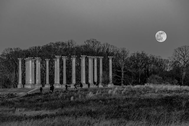 Sunset and Moonrise over the Capitol Columns at the National Arboretum-Daniel Horowitz