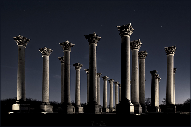 Sunset and Moonrise over the Capitol Columns at the National Arboretum-Erika Fawcett