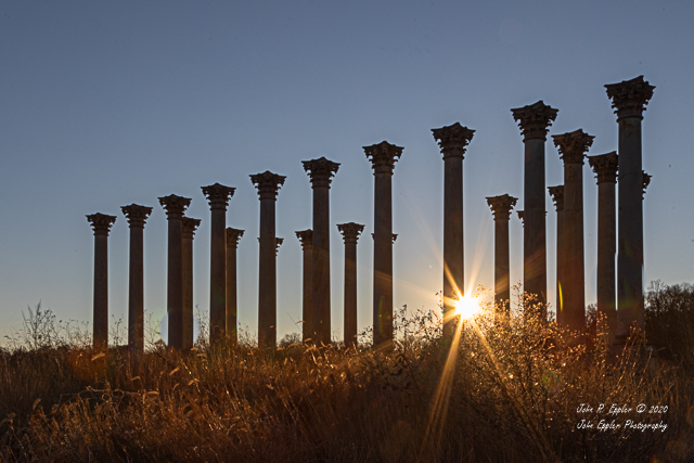 Sunset and Moonrise over the Capitol Columns at the National Arboretum-John Eppler