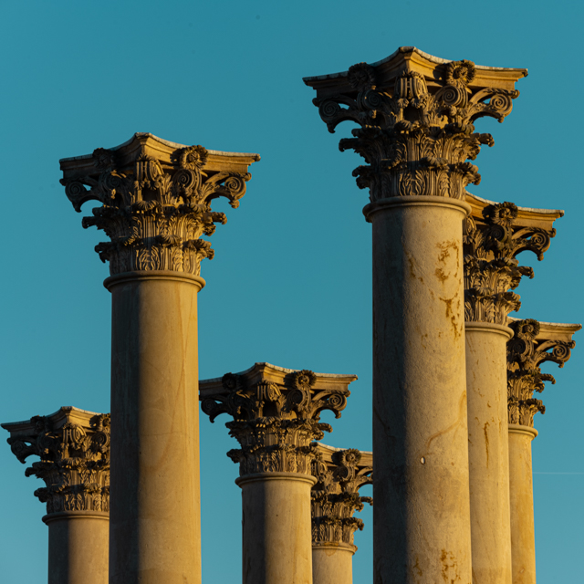 Sunset and Moonrise over the Capitol Columns at the National Arboretum-Kim Cawley