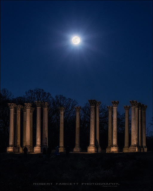 Sunset and Moonrise over the Capitol Columns at the National Arboretum-Robert Fawcett
