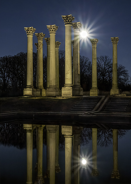 Sunset and Moonrise over the Capitol Columns at the National Arboretum-Ginger Werz-Petricka
