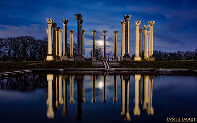 Sunset and Moonrise at the Capitol Columns at National Arboretum-Dave Lyons