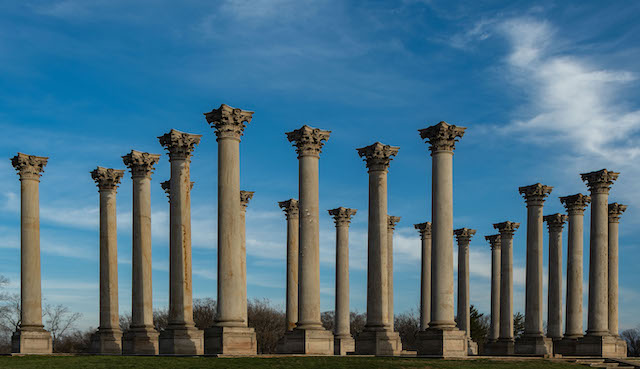 Sunset and Moonrise at the Capitol Columns at National Arboretum-Earl Davy