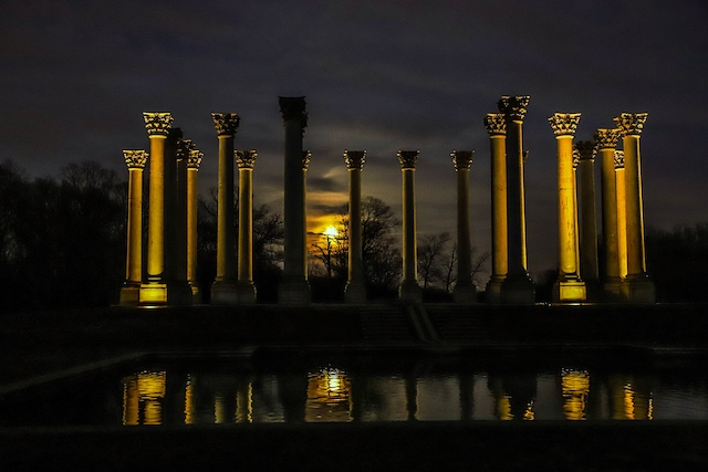 Sunset and Moonrise at the Capitol Columns at National Arboretum-Troy Meyer