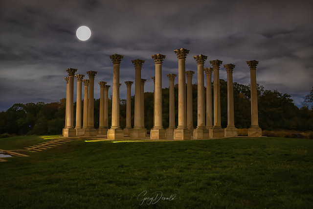 Sunset and Moonrise over the Capitol Columns at the National Arboretum-Gary Dewald
