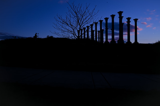 Sunset and Moonrise over the Capitol Columns at the National Arboretum-Jennifer Fields Joseph