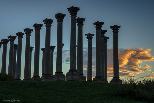 Sunset and Moonrise over the Capitol Columns at the National Arboretum-Joy Philippi