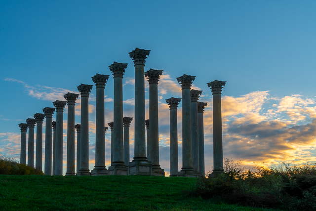 Sunset and Moonrise over the Capitol Columns at the National Arboretum-Karen Davis