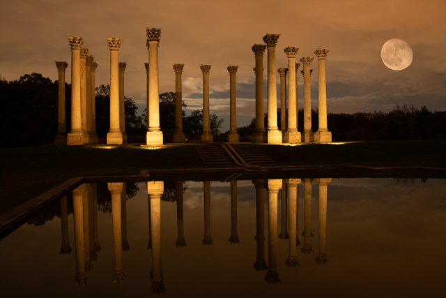 Sunset and Moonrise over the Capitol Columns at the National Arboretum-Robert Mazziotta