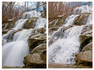 Slow shutter for silky flowing water - Fast shutter to freeze motion